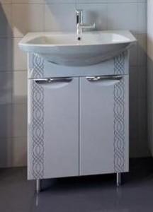 10078/17561 Тумба с раковиной АСБ-Мебель Алекса 70, цвет - белый глянец/серебро