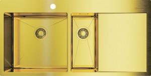 4973089 Мойка кухонная Omoikiri Akisame 100-2-LG-L светлое золото