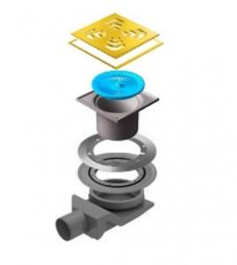 13000147 Трап водосток Pestan Confluo Standard Square 4 Gold 150*150 мм нержавеющая сталь