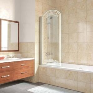 EV arc Lux 0075 01 В10+kristall Шторка на ванну Vegas Glass, профиль - белый, стекло -сатин, рисунок - kristall, 75 х 155 см
