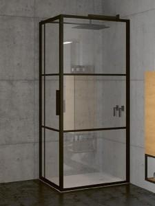 GB2120100 Душевой уголок Riho Grid XL GB203,, 120 х 100 х 200 см, стекло прозрачное, профиль черный с панелью 30 см