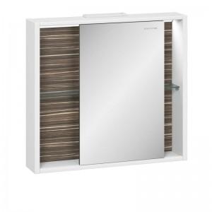 Зеркальный шкаф Edelform Belle 80, с подсветкой и раздвижной дверкой, цвета: белый, макассар