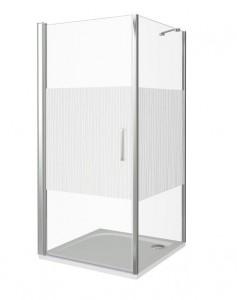 ПД00042 Душевое ограждение Good Door Pandora CR-100-T-CH 100 х 100 х 185 см,, стекло прозрачное с рисунком Тростник, хром