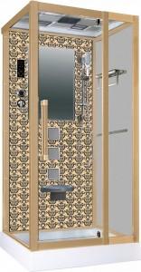 NG-7714G Душевая кабина Niagara, 100 x 90 см с гидромассажем, стенки золото