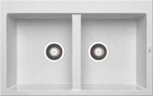 79810911 Кухонная мойка Pyramis Alazia, 79x50 см, белый опал