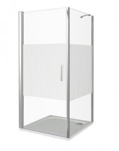 ПД00041 Душевое ограждение Good Door Pandora CR-90-T-CH 90 х 90 х 185 см,, стекло прозрачное с рисунком Тростник, хром