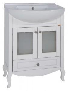 Тумба с раковиной АСБ-Мебель Флоренция 65 белая патина серебро витраж, массив ясеня