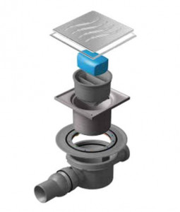 13000068 Трап водосток Pestan Confluo Standard Dry 2 Mask 100*100 мм нержавеющая сталь с рамкой