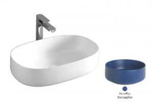 COL003 16; 00 Раковина ArtCeram Cognac Countertop, накладная, цвет - blu zaffiro (синий сапфир), 55 х 35 х 14,5 см