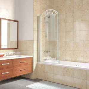 EV arc Lux 0075 09 В10+kristall Шторка на ванну Vegas Glass, профиль - золото, стекло -сатин, рисунок - kristall, 75*155 см