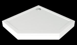 ЛП00009 Душевой поддон Bas Пента 100 x 100 см,, литьевой мрамор, пятиугольный, белый