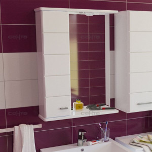 Зеркальный шкаф СаНтаОмега 50 с подсветкой, левый/правый, цвет белый