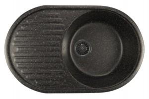ML-GM16 (308) Кухонная мойка Mixline, врезная сверху, цвет - черный, 73.5 х 46.5 х 18 см
