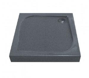 ЛП00029 Душевой поддон Bas Квадро 100 x 100 см, Грей,, литьевой мрамор, квадратный, серый