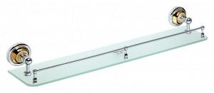 Полка стеклянная Bemeta Retro 144202268 60 x 12 x 9 см с бортиком, хром/золото