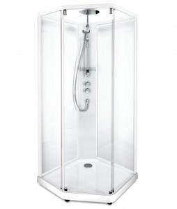 558.205.309 Душевая кабина IDO Showerama 10-5 Comfort, 80 x 90 см, стекло прозрачное, задние стенки прозрачные, профиль белый