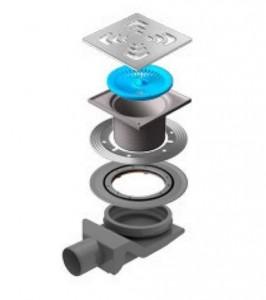 13000008 Трап водосток Pestan Confluo Standard Square 4 150*150 мм нержавеющая сталь без рамки