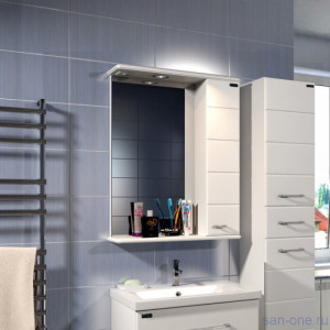 Зеркальный шкафСаНта Омега 60 с подсветкой, левый/правый, цвет белый