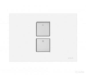 748-0101 Кнопка смыва VitrA Twin, панель - белое стекло, кнопки - хром