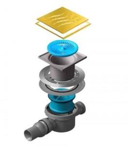 13000141 Трап водосток Pestan Confluo Standard Tide 2 Gold 150*150 мм нержавеющая сталь