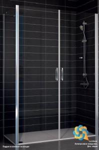 E2P-Fis 75*100 07 10 Душевой уголок Vegas Glass E2P-Fis профиль матовый хром, стекло сатин, 75 x 100 x 190 см