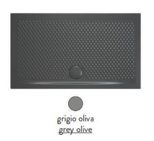 PDR019 15; 00 Поддон ArtCeram Texture 100 х 80 х 5,5 см,, прямоугольный, цвет - grigio oliva (серый), из искусственного камня