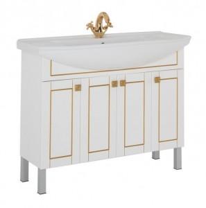 186097 Тумба под раковину Aquanet Честер 105 00186097, цвет белый, патина золото