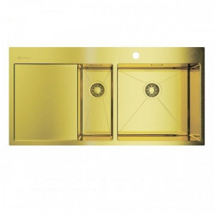 4973090 Omoikiri Мойка Akisame 100-2-LG-R нерж. сталь светлое золото