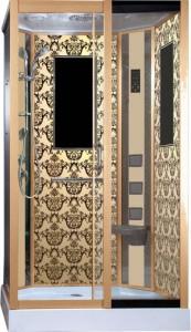 NG-7711GR Душевая кабина Niagara, 120 x 90 см с гидромассажем, стенки золото, правая