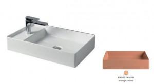 SCL003 13; 00 Раковина ArtCeram Scalino 60, накладная, цвет - arancio cammeo (оранжевый камео), 60 х 38 х 11,5 см
