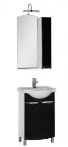 Комплект мебели Aquanet Асти 55 00180318 (зеркало-шкаф), цвет фасада черный