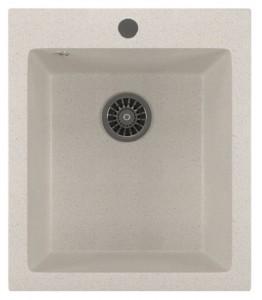 ML-GM14 (331) Кухонная мойка Mixline, врезная сверху, цвет - белый, 42 х 49 х 19 см