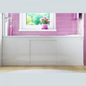 1706 Экран для ванны Alavann МДФ Crystal раздвижной 150 см белый