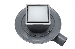 13000104 Трап водосток Pestan Confluo Standard Dry 1 White Glass 1 100*100 White Glass белое стекло с рамкой сталь