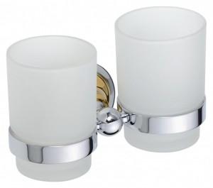 Стакан для зубных щеток двойной Bemeta Retro 144210028 16 x 9 x 9.5 см, хром/золото