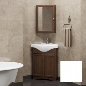 Комплект мебели угловой: Тумба с раковиной Opadiris Клио 45 угловая + Зеркало, цвет белый