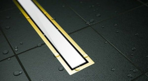 13100089 Душевой лоток Pestan Confluo Premium White Glass Gold Line 450, решетка белое закаленное стекло-золото 24К