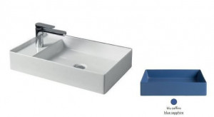SCL003 16; 00 Раковина ArtCeram Scalino 60, накладная, blu zaffiro (синий сапфир), 60 х 38 х 11,5 см