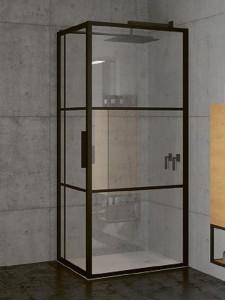 GB2110100 Душевой уголок Riho Grid XL GB203,, 110 х 100 см, стекло прозрачное, профиль черный с панелью 30 см