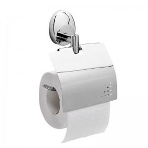 Держатель туалетной бумаги Raiber R70113, с крышкой, хром
