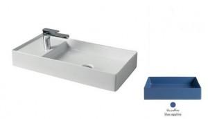 SCL004 16; 00 Раковина ArtCeram Scalino 75, накладная, цвет - blu zaffiro (синий сапфир), 75 х 38 х 11,5 см