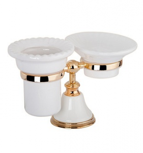 Мыльница и стакан для щеток ALL.PE Harmony HA141bi/oro, белый/золото