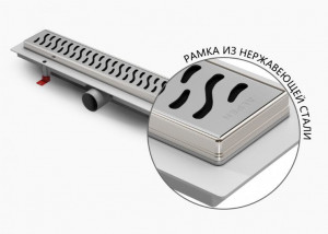 ALP-950/50HN1 Душевой водоотводящий желоб с рамкой Alpen Harmony 950 мм хром матовый