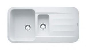 114.0284.566 Мойка Franke PEBEL PBG 651,, гранит, установка сверху, оборачиваемая, цвет белый, 97*50 см