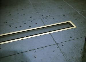 13100097 Душевой лоток Pestan Confluo Premium Gold Black Glass Line 650, решетка черное закаленное стекло-золото 24К