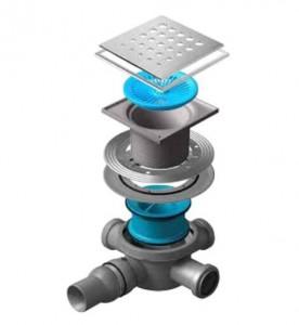 13000078 Трап водосток Pestan Confluo Standard Drops 3 Mask 150*150 мм нержавеющая сталь с рамкой