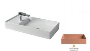 SCL004 13; 00 Раковина ArtCeram Scalino 75, накладная, цвет - arancio cammeo (оранжевый камео), 75 х 38 х 11,5 см