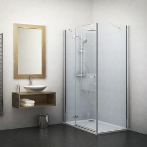 132-900000L-00-02/133-100000P-00-02 Душевой уголок Roltechnik Elegant Line 90 х 100 см, левая дверь, стекло прозрачное