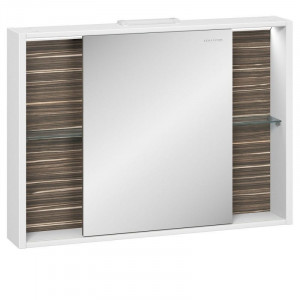 Зеркальный шкаф Edelform Belle 100, с подсветкой и раздвижной дверкой, цвета: белый, макассар