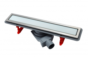 13000280 Душевой лоток Pestan Confluo Premium With White Glass Line 300, решетка белое закаленное стекло-сталь